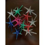 """Stars LARGE plastic top of tree 2 red,2 green, 4 clear, 2 pink, 2 blue 2.75"""" h 1.75"""" w base 1/8"""" stem 12 stars included"""