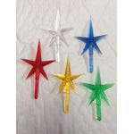 Stars large plastic top of tree 5 pack red, green, clear, blue & yellow  2-1/2