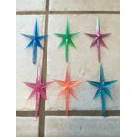 "Stars auroras iridescent plastic medium for the top of the ceramic Christmas tree 6 pack stars, (excluding the stem) measures 2-7/8 inches high X 1 3/4 "" wide.FREE SHIPPING ON THIS PRODUCT"