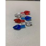 A Ceramic Christmas tree plastic light up medium twist bulbs patriotic RED,WHITE AND BLUE (overall): 1'' L x 3/8'' W overall Stem: 7/16'...